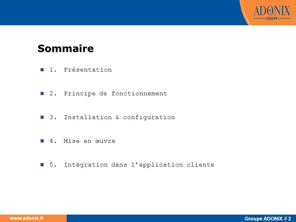 www.adonix.fr 1.Présentation 1.1.Généralités sur les services web 1.2.Les services web ADONIX 1.3.Méthodes des services web ADONIX 1.3.1.Le Service Web Objet 1.3.2.Le Service Web Sous programme 1.3.3.Le Service Web Liste 1.3.4.Méthode commune Formation Web Services Adonix