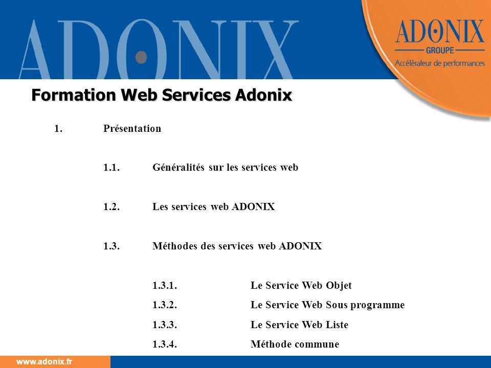 Groupe ADONIX // 14 www.adonix.fr Chacun de ces trois service web propose une méthode particulière Chacun de ces trois service web propose une méthode particulière Il sagit de la méthode GetDescription(objet ou sousprogramme) Cette méthode permet : De vérifier si un objet, une liste ou un programme a été publié en mode WEB Service.