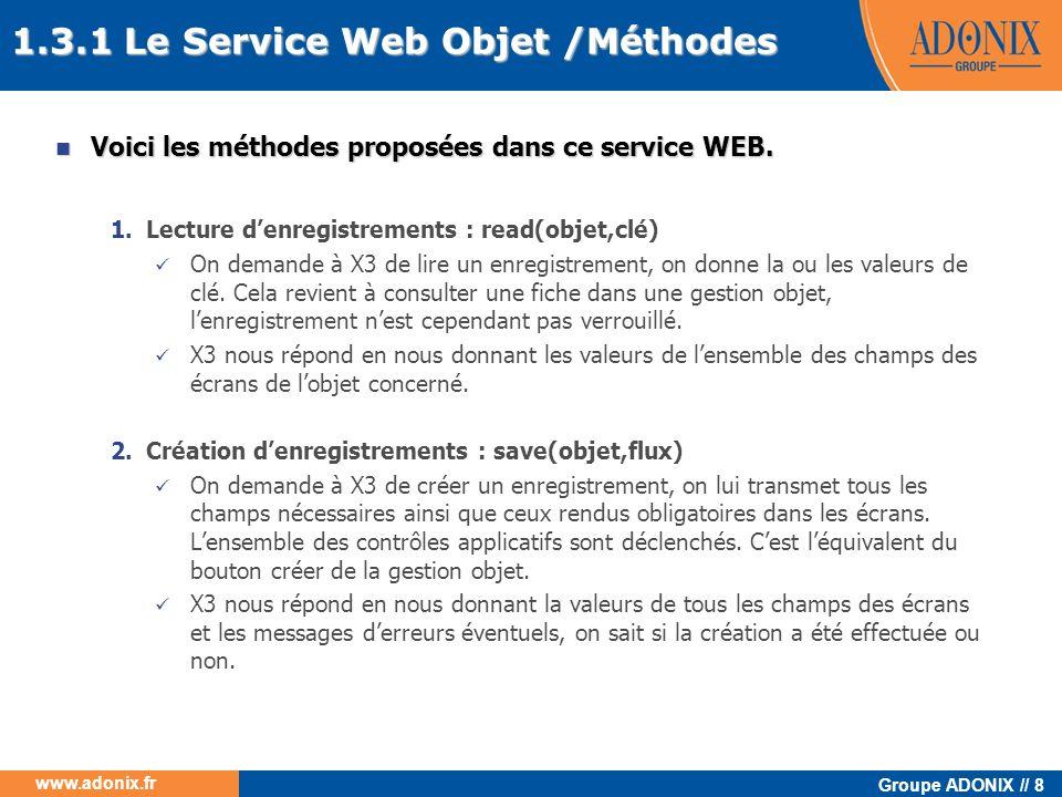 Groupe ADONIX // 8 www.adonix.fr 1.3.1 Le Service Web Objet /Méthodes Voici les méthodes proposées dans ce service WEB. Voici les méthodes proposées d