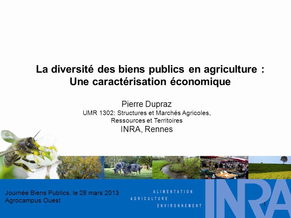 Journée Biens Publics, le 28 mars 2013 Agrocampus Ouest 1 Pierre Dupraz UMR 1302: Structures et Marchés Agricoles, Ressources et Territoires INRA, Ren