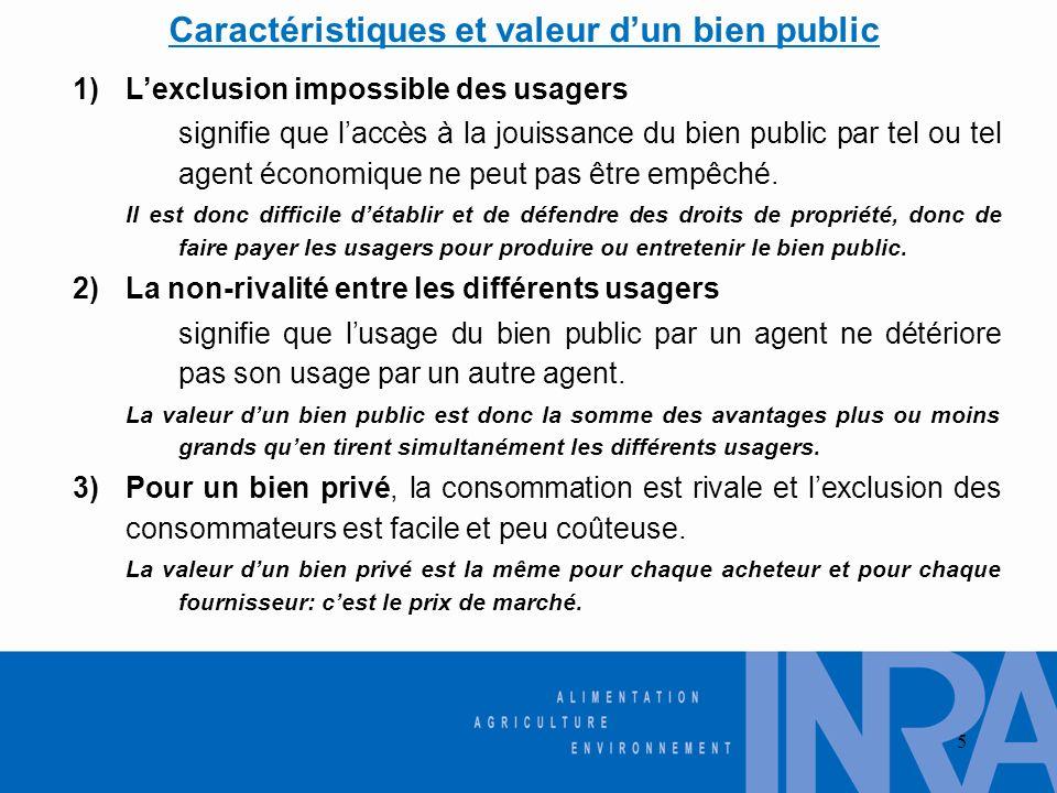 5 1)Lexclusion impossible des usagers signifie que laccès à la jouissance du bien public par tel ou tel agent économique ne peut pas être empêché. Il