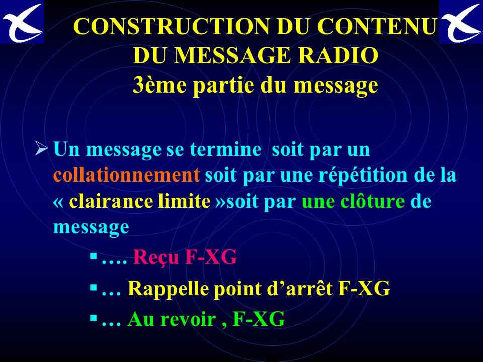 CONSTRUCTION DU CONTENU DU MESSAGE RADIO 2ème partie du message AVEC UN SERVICE DU CONTRÔLE: En Vol. Exemple PLN Réduit( Ident, Type, From / To, Posit