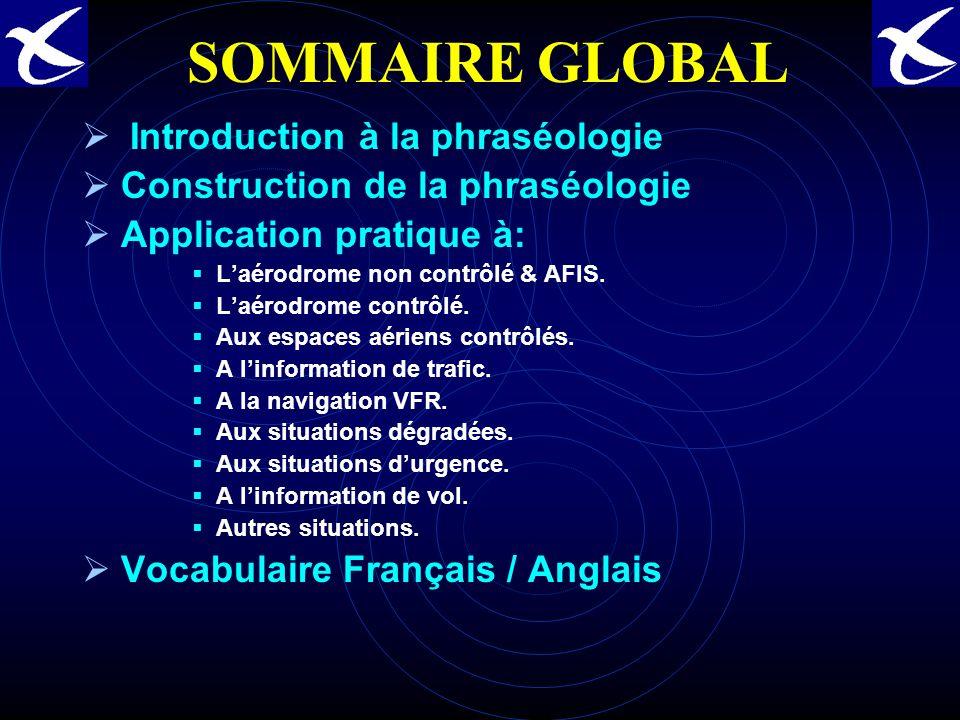 SOMMAIRE GLOBAL Introduction à la phraséologie Construction de la phraséologie Application pratique à: Laérodrome non contrôlé & AFIS.