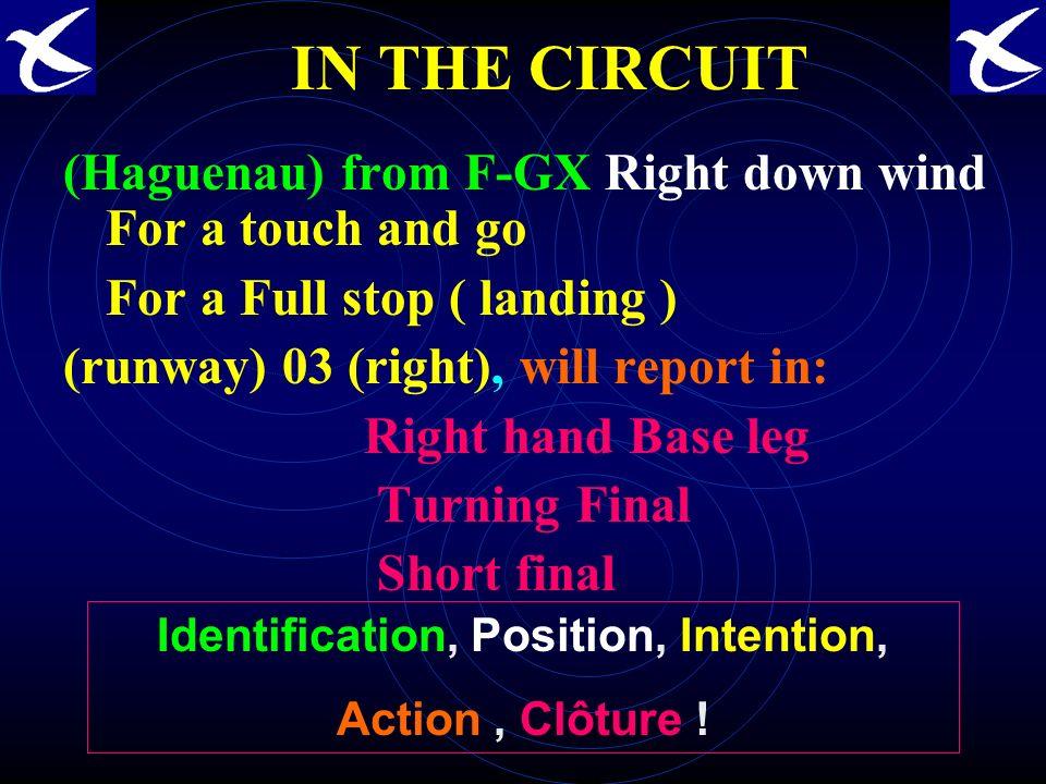 DANS LE CIRCUIT (Haguenau) de F-GX vent arrière main droite pour un touch and go pour un (atterrissage) complet (piste) 03 droite, reporterai en : Bas