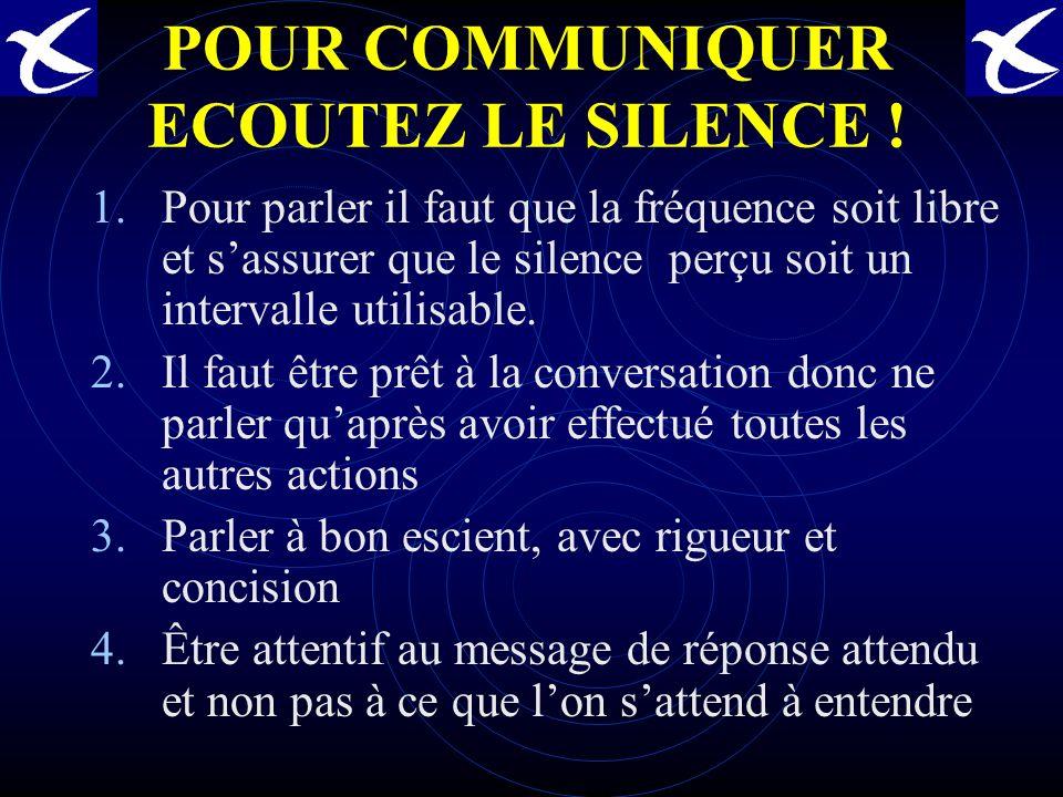 POUR COMMUNIQUER ECOUTEZ LE SILENCE .