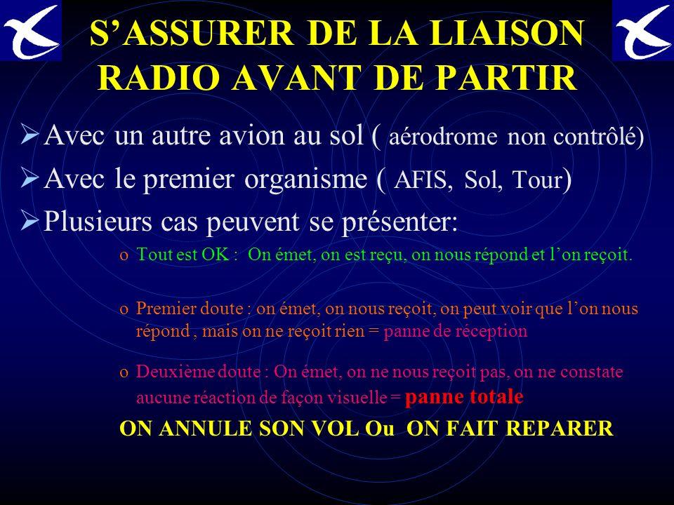 CONSTRUCTION DU CONTENU DU MESSAGE RADIO 2ème partie du message AVEC UN SERVICE DU CONTRÔLE: En Vol.