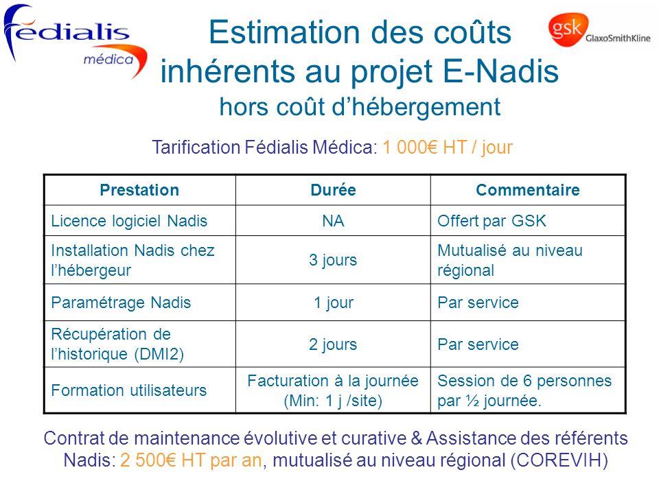 Estimation des coûts inhérents au projet E-Nadis hors coût dhébergement PrestationDuréeCommentaire Licence logiciel NadisNAOffert par GSK Installation