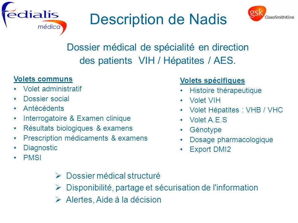 Description de Nadis Dossier médical de spécialité en direction des patients VIH / Hépatites / AES. Volets communs Volet administratif Dossier social