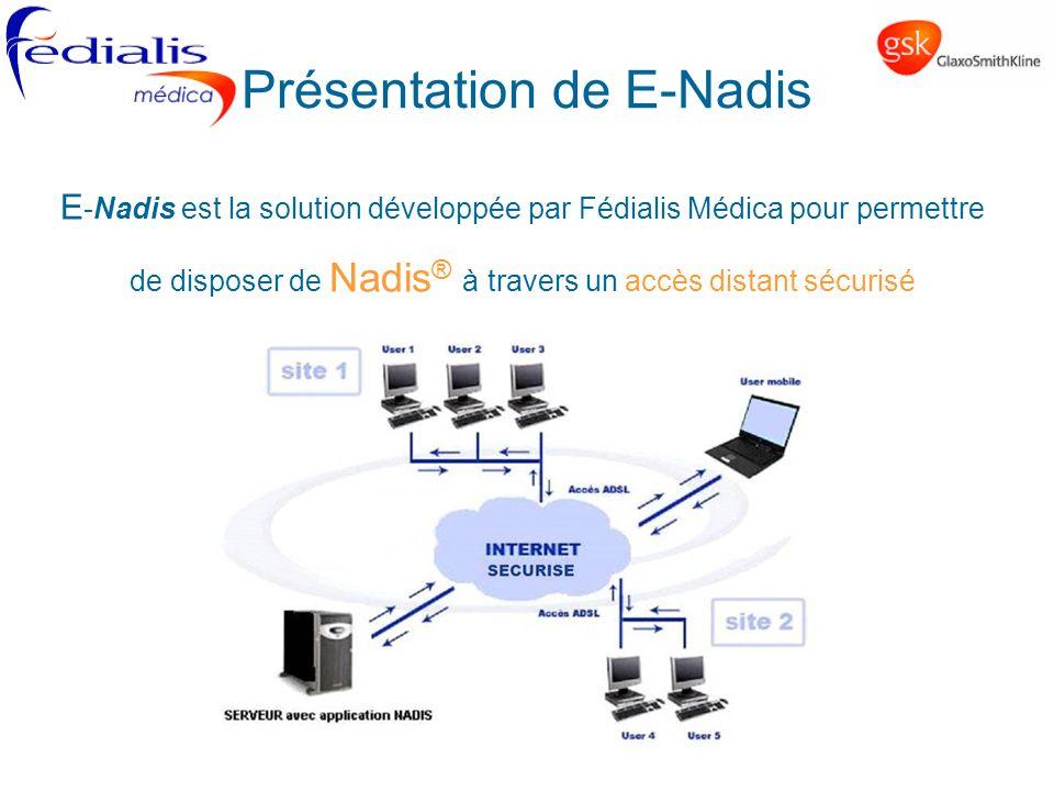 Présentation de E-Nadis E -Nadis est la solution développée par Fédialis Médica pour permettre de disposer de Nadis ® à travers un accès distant sécur