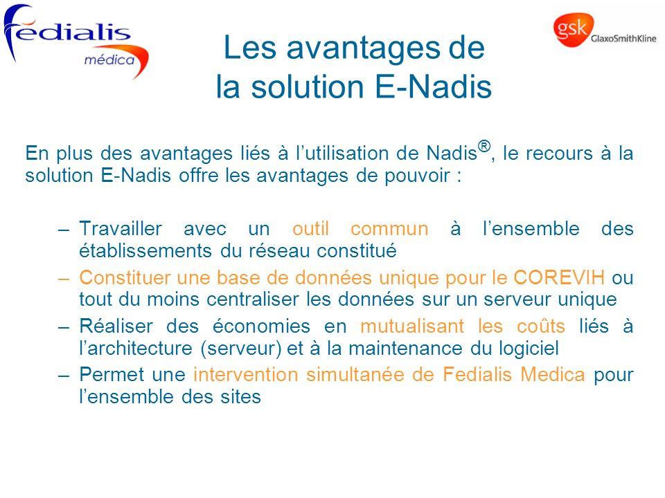 Les avantages de la solution E-Nadis En plus des avantages liés à lutilisation de Nadis ®, le recours à la solution E-Nadis offre les avantages de pou