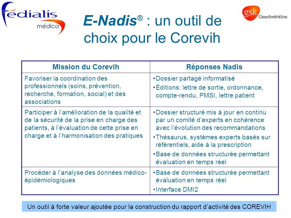 Mission du CorevihRéponses Nadis Favoriser la coordination des professionnels (soins, prévention, recherche, formation, social) et des associations Do