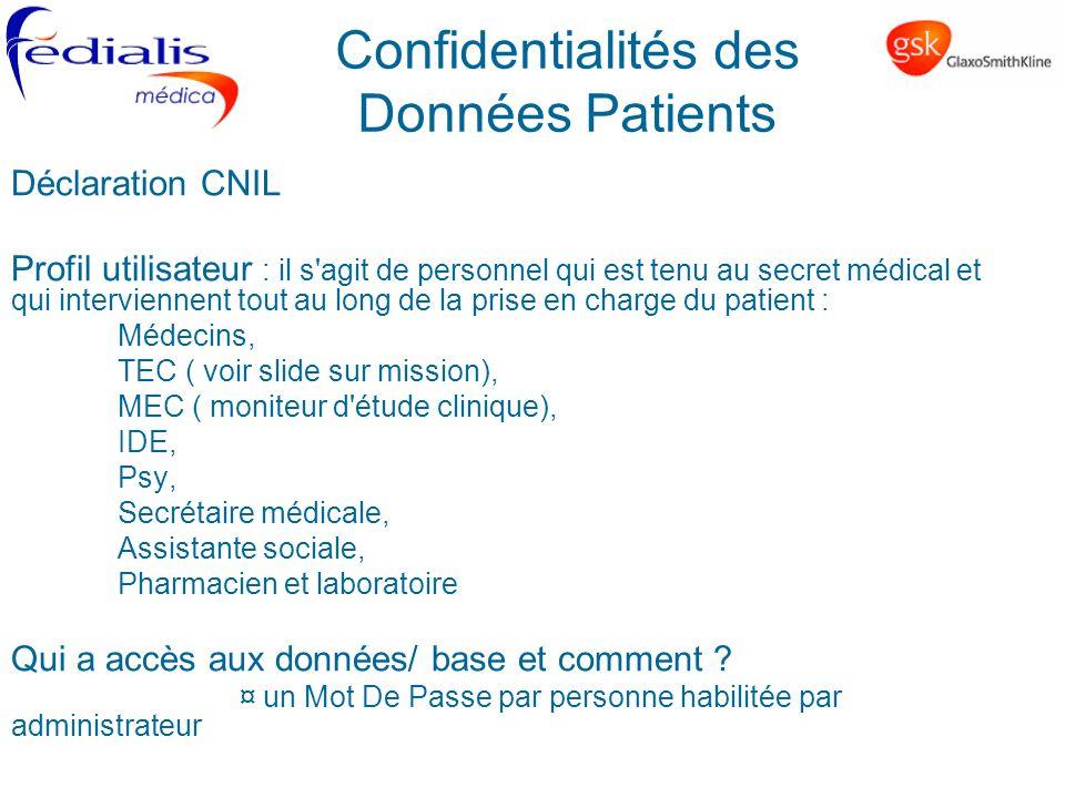 Confidentialités des Données Patients Déclaration CNIL Profil utilisateur : il s'agit de personnel qui est tenu au secret médical et qui interviennent