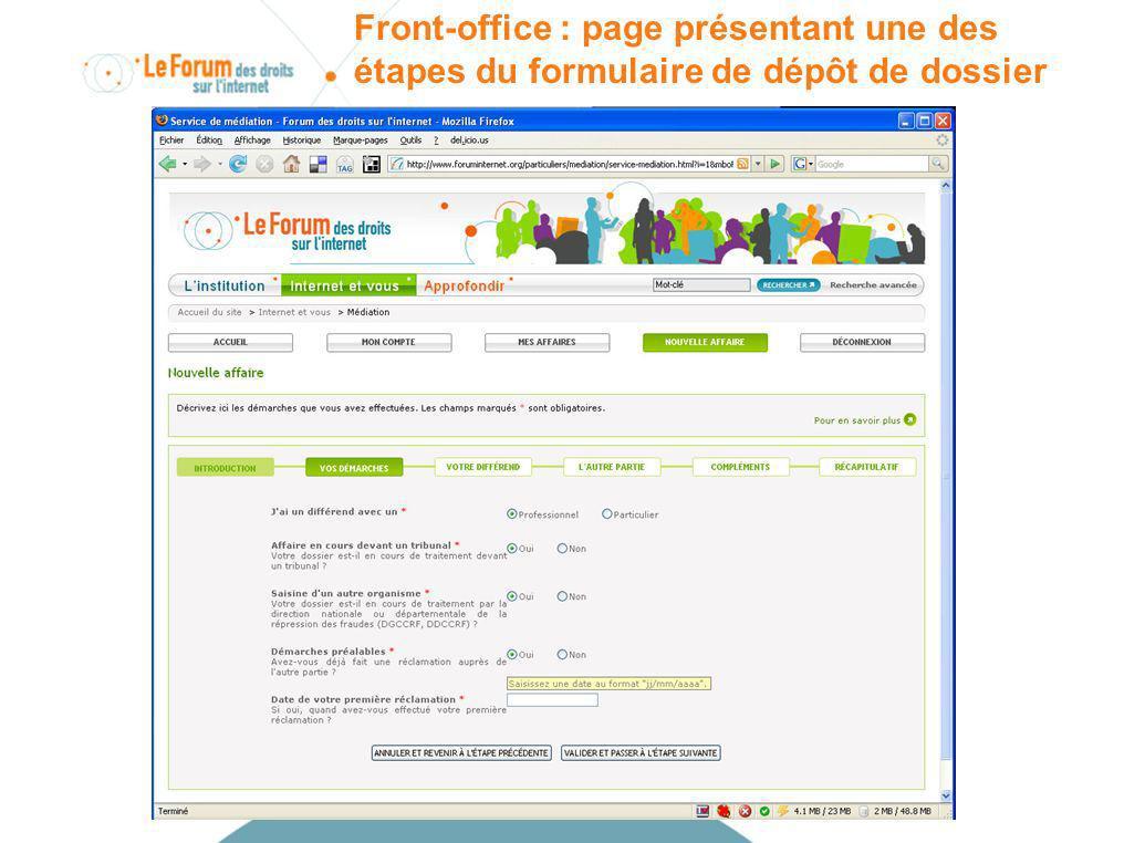 Front-office : page présentant une des étapes du formulaire de dépôt de dossier