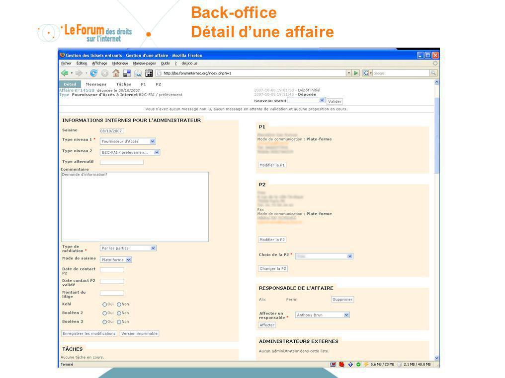 Back-office Détail dune affaire