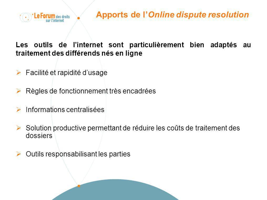 Apports de lOnline dispute resolution Les outils de linternet sont particulièrement bien adaptés au traitement des différends nés en ligne Facilité et