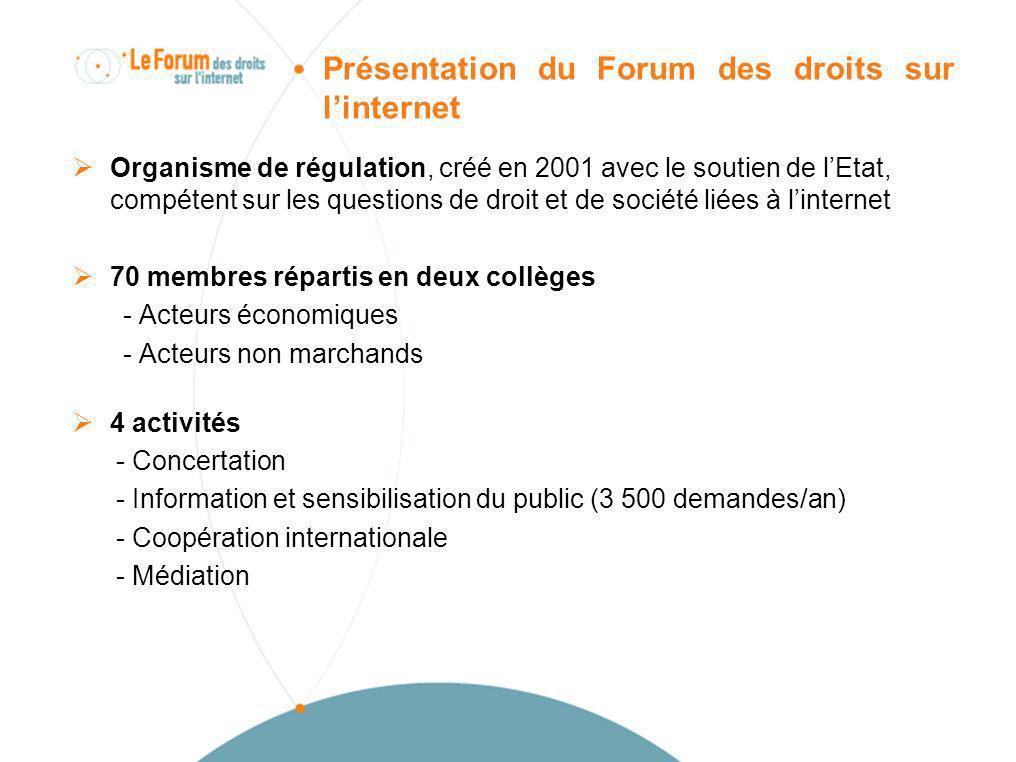 Présentation du Forum des droits sur linternet Organisme de régulation, créé en 2001 avec le soutien de lEtat, compétent sur les questions de droit et