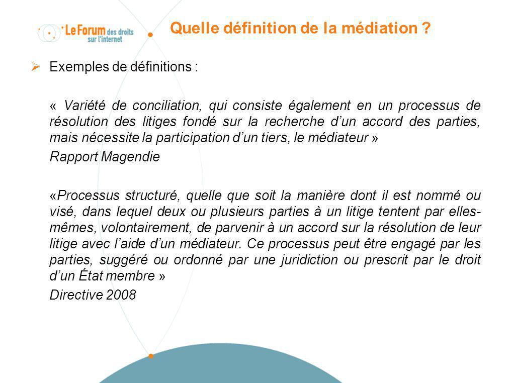 Quelle définition de la médiation ? Exemples de définitions : « Variété de conciliation, qui consiste également en un processus de résolution des liti