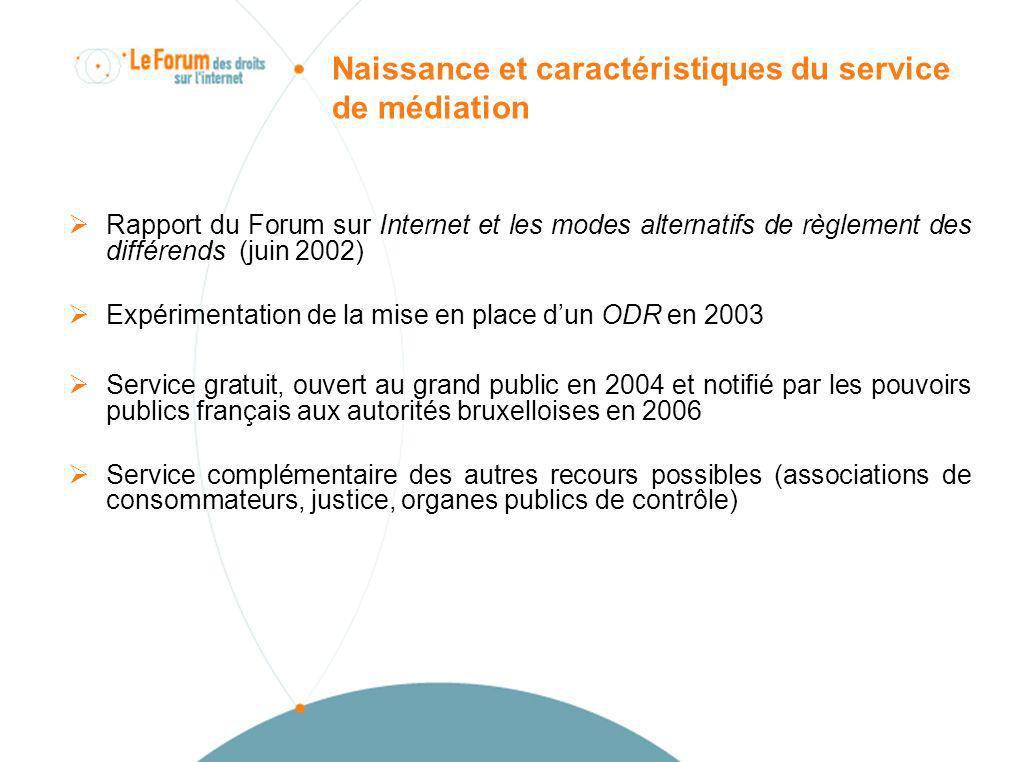 Naissance et caractéristiques du service de médiation Rapport du Forum sur Internet et les modes alternatifs de règlement des différends (juin 2002) E