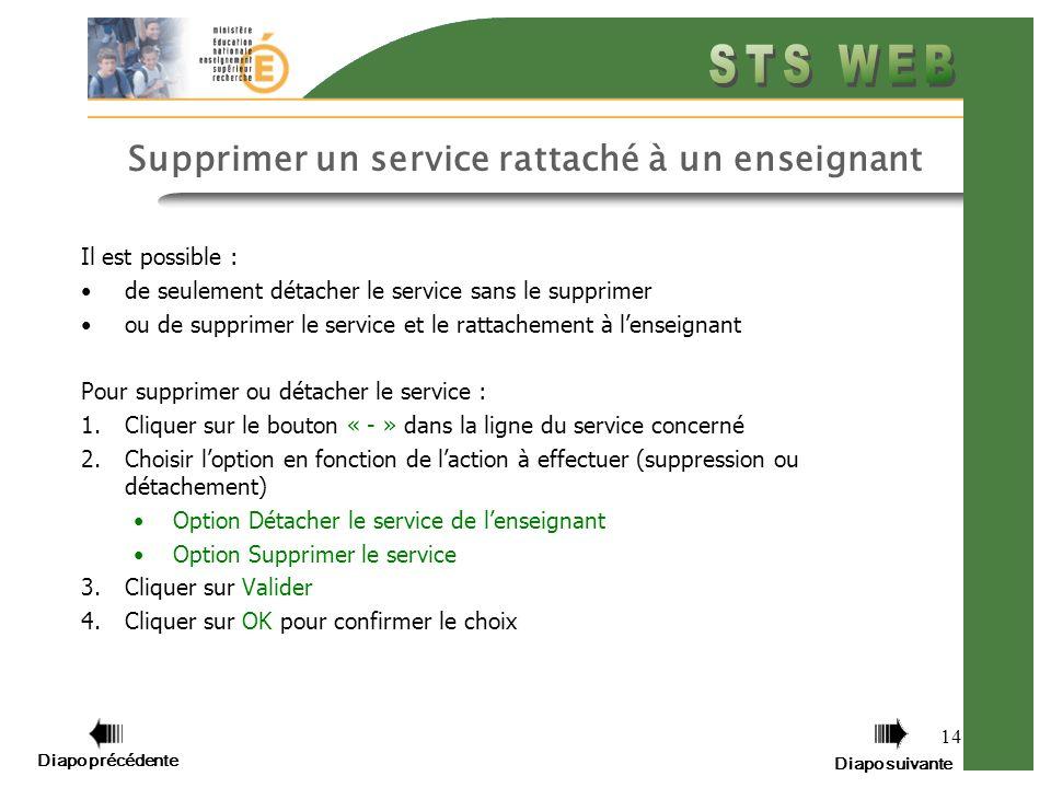 Diapo précédente Diapo suivante 14 Supprimer un service rattaché à un enseignant Il est possible : de seulement détacher le service sans le supprimer