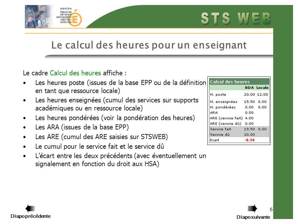 Diapo précédente Diapo suivante 6 Le calcul des heures pour un enseignant Le cadre Calcul des heures affiche : Les heures poste (issues de la base EPP