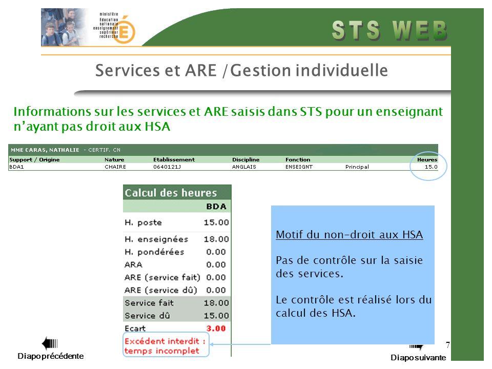 Diapo précédente Diapo suivante 7 Services et ARE /Gestion individuelle Informations sur les services et ARE saisis dans STS pour un enseignant nayant pas droit aux HSA Motif du non-droit aux HSA Pas de contrôle sur la saisie des services.