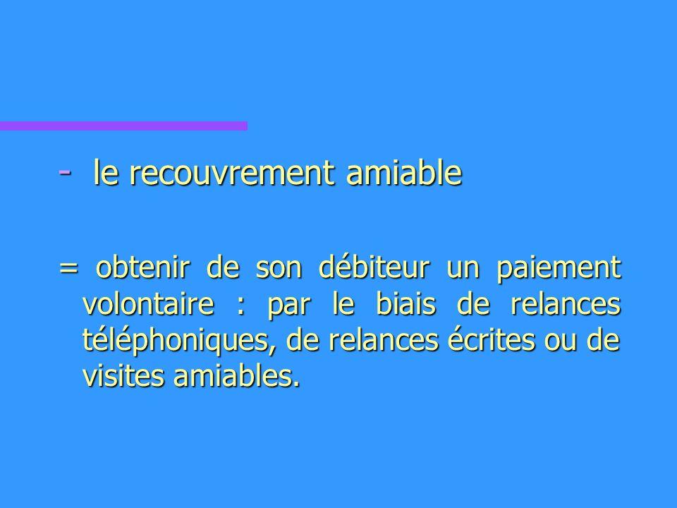 - le recouvrement amiable = obtenir de son débiteur un paiement volontaire : par le biais de relances téléphoniques, de relances écrites ou de visites amiables.