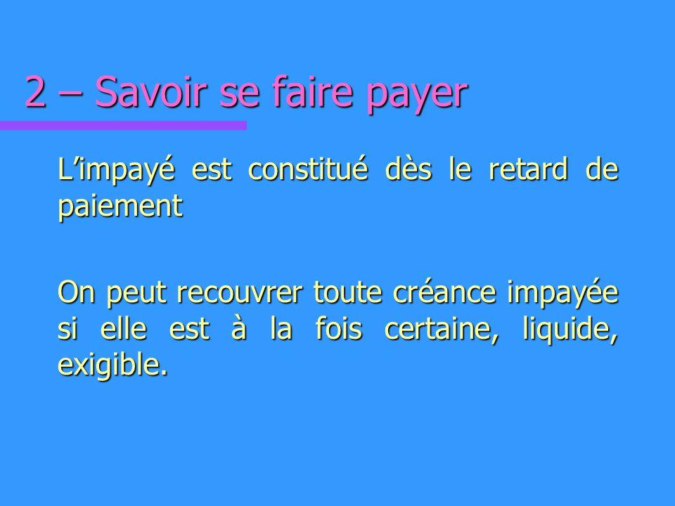 2 – Savoir se faire payer Limpayé est constitué dès le retard de paiement On peut recouvrer toute créance impayée si elle est à la fois certaine, liquide, exigible.