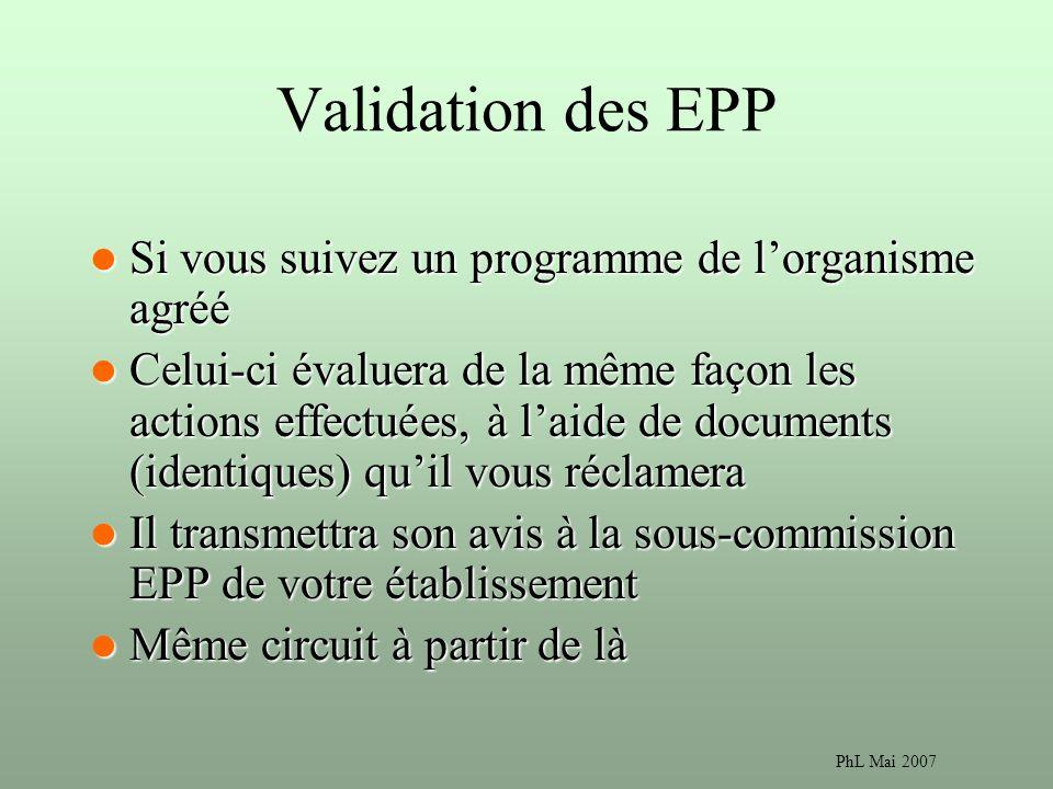 PhL Mai 2007 Validation des EPP Si vous suivez un programme de lorganisme agréé Si vous suivez un programme de lorganisme agréé Celui-ci évaluera de la même façon les actions effectuées, à laide de documents (identiques) quil vous réclamera Celui-ci évaluera de la même façon les actions effectuées, à laide de documents (identiques) quil vous réclamera Il transmettra son avis à la sous-commission EPP de votre établissement Il transmettra son avis à la sous-commission EPP de votre établissement Même circuit à partir de là Même circuit à partir de là