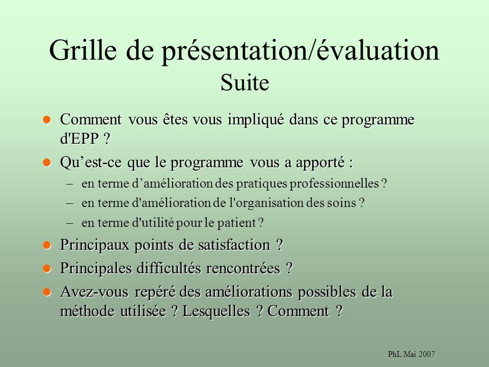 PhL Mai 2007 Grille de présentation/évaluation Suite Comment vous êtes vous impliqué dans ce programme d EPP .