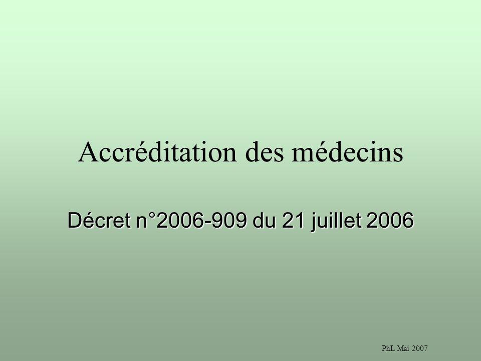 PhL Mai 2007 Accréditation des médecins Décret n°2006-909 du 21 juillet 2006