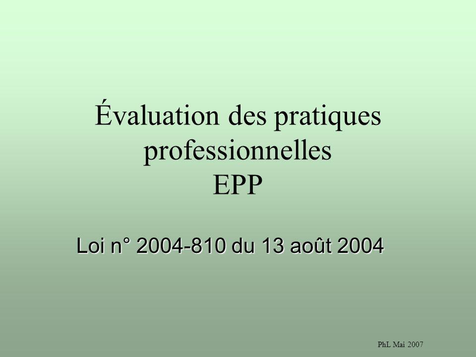 PhL Mai 2007 Évaluation des pratiques professionnelles EPP Loi n° 2004-810 du 13 août 2004