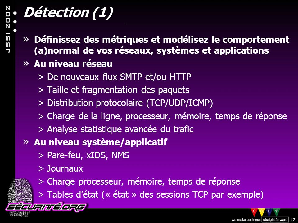 © 2002 Sécurité.Org 12 Détection (1) » Définissez des métriques et modélisez le comportement (a)normal de vos réseaux, systèmes et applications » Au niveau réseau >De nouveaux flux SMTP et/ou HTTP >Taille et fragmentation des paquets >Distribution protocolaire (TCP/UDP/ICMP) >Charge de la ligne, processeur, mémoire, temps de réponse >Analyse statistique avancée du trafic » Au niveau système/applicatif >Pare-feu, xIDS, NMS >Journaux >Charge processeur, mémoire, temps de réponse >Tables détat (« état » des sessions TCP par exemple)