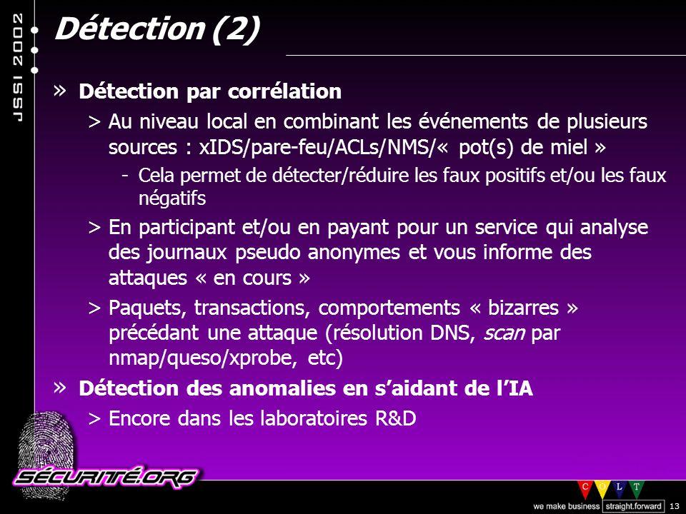 © 2002 Sécurité.Org 13 Détection (2) » Détection par corrélation >Au niveau local en combinant les événements de plusieurs sources : xIDS/pare-feu/ACLs/NMS/« pot(s) de miel » -Cela permet de détecter/réduire les faux positifs et/ou les faux négatifs >En participant et/ou en payant pour un service qui analyse des journaux pseudo anonymes et vous informe des attaques « en cours » >Paquets, transactions, comportements « bizarres » précédant une attaque (résolution DNS, scan par nmap/queso/xprobe, etc) » Détection des anomalies en saidant de lIA >Encore dans les laboratoires R&D