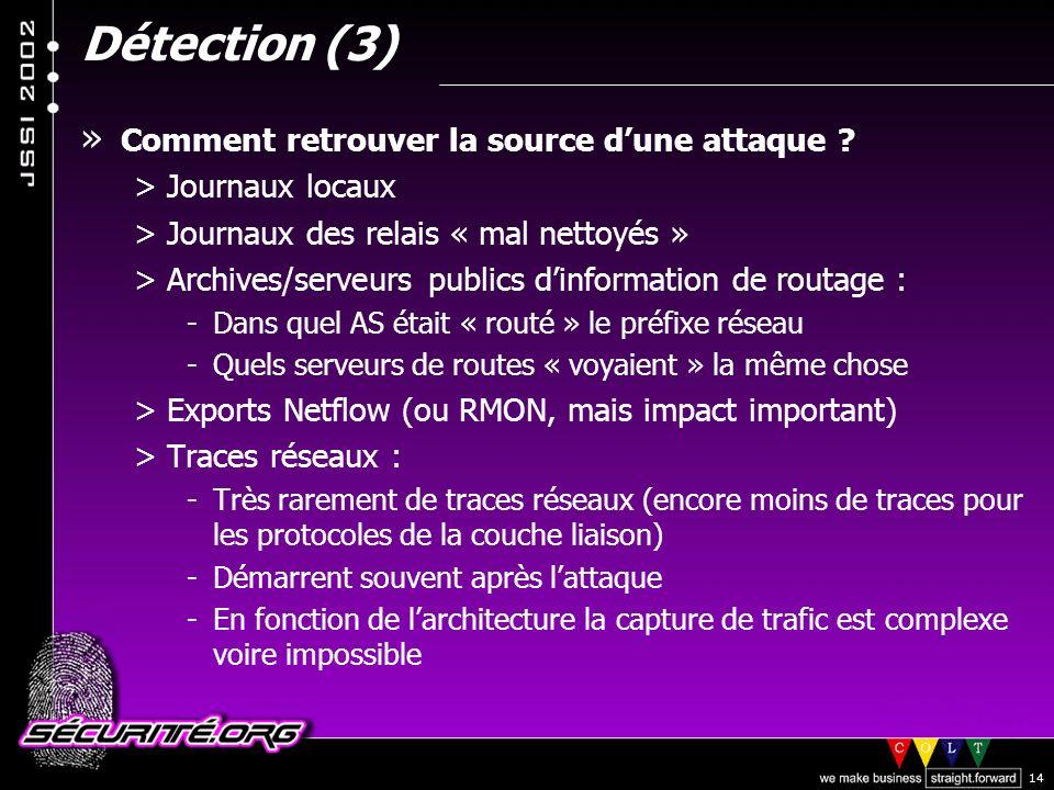 © 2002 Sécurité.Org 14 Détection (3) » Comment retrouver la source dune attaque .