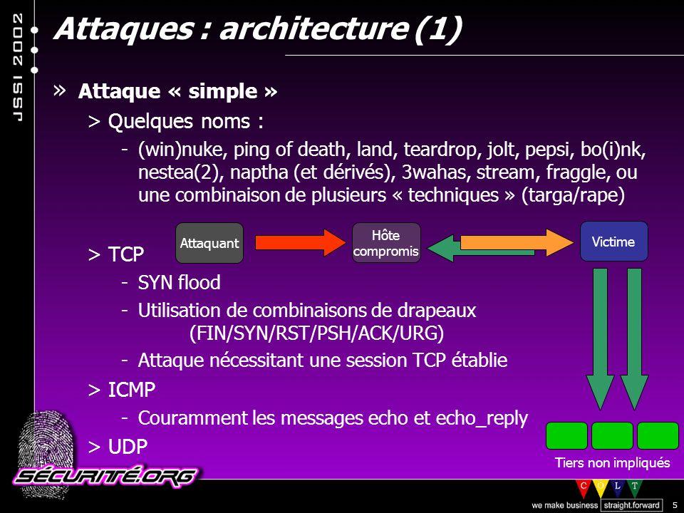 © 2002 Sécurité.Org 5 Attaques : architecture (1) Attaquant Victime Hôte compromis » Attaque « simple » >Quelques noms : -(win)nuke, ping of death, land, teardrop, jolt, pepsi, bo(i)nk, nestea(2), naptha (et dérivés), 3wahas, stream, fraggle, ou une combinaison de plusieurs « techniques » (targa/rape) >TCP -SYN flood -Utilisation de combinaisons de drapeaux (FIN/SYN/RST/PSH/ACK/URG) -Attaque nécessitant une session TCP établie >ICMP -Couramment les messages echo et echo_reply >UDP Tiers non impliqués