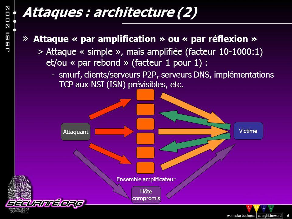 © 2002 Sécurité.Org 6 Attaques : architecture (2) Attaquant Victime Ensemble amplificateur Hôte compromis » Attaque « par amplification » ou « par réflexion » >Attaque « simple », mais amplifiée (facteur 10-1000:1) et/ou « par rebond » (facteur 1 pour 1) : -smurf, clients/serveurs P2P, serveurs DNS, implémentations TCP aux NSI (ISN) prévisibles, etc.