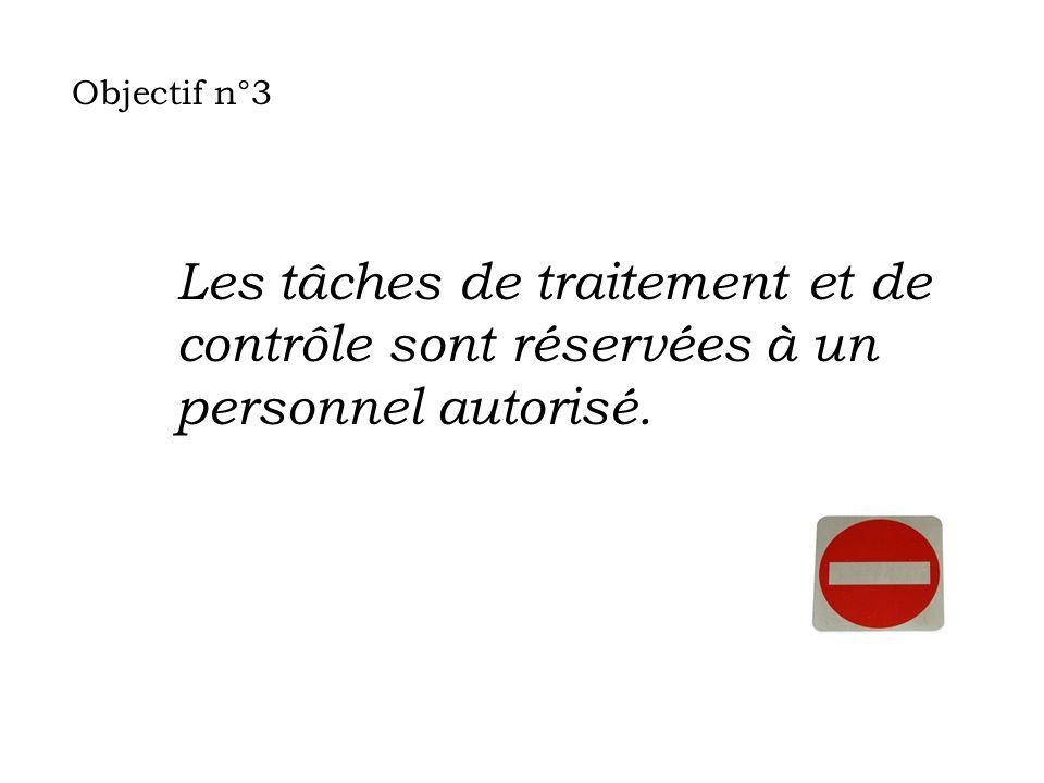 Objectif n°3 Les tâches de traitement et de contrôle sont réservées à un personnel autorisé.