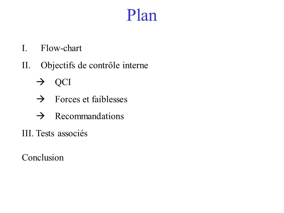 Plan I.Flow-chart II.Objectifs de contrôle interne QCI Forces et faiblesses Recommandations III. Tests associés Conclusion