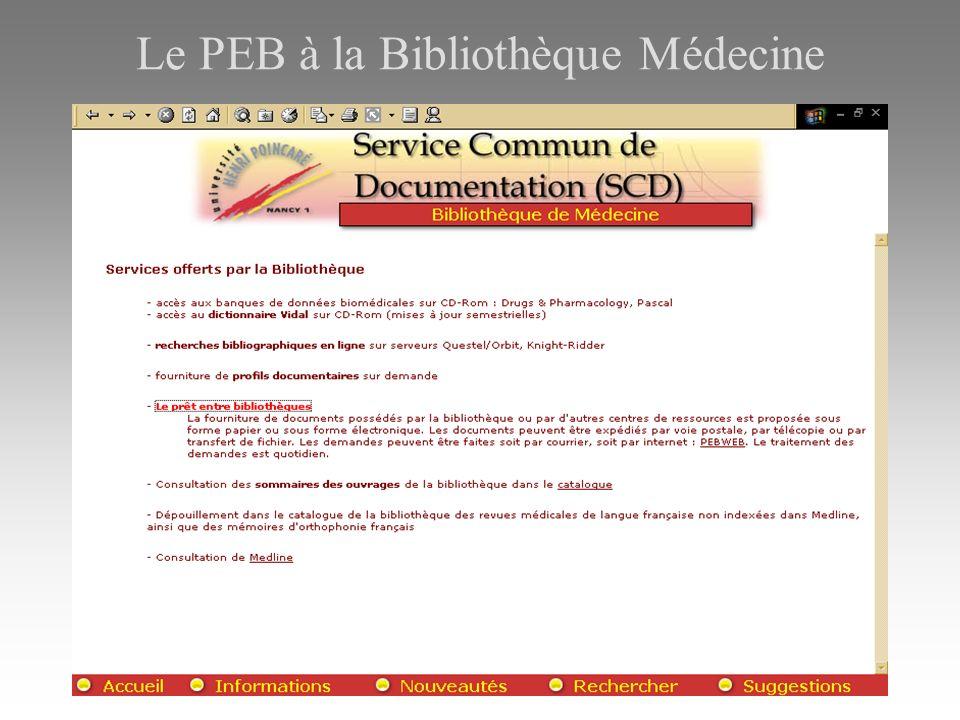 Le PEB à la Bibliothèque Médecine