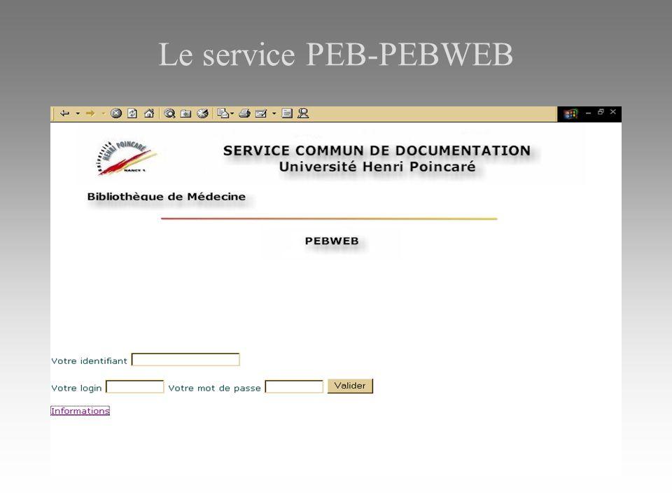 Le service PEB-PEBWEB