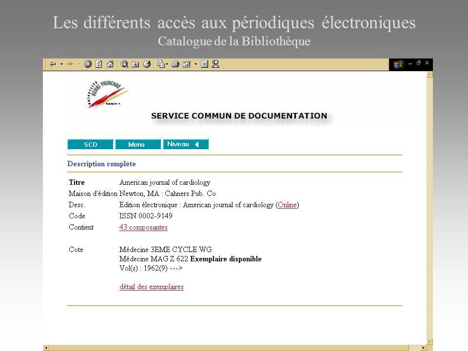 Les différents accès aux périodiques électroniques Catalogue de la Bibliothèque