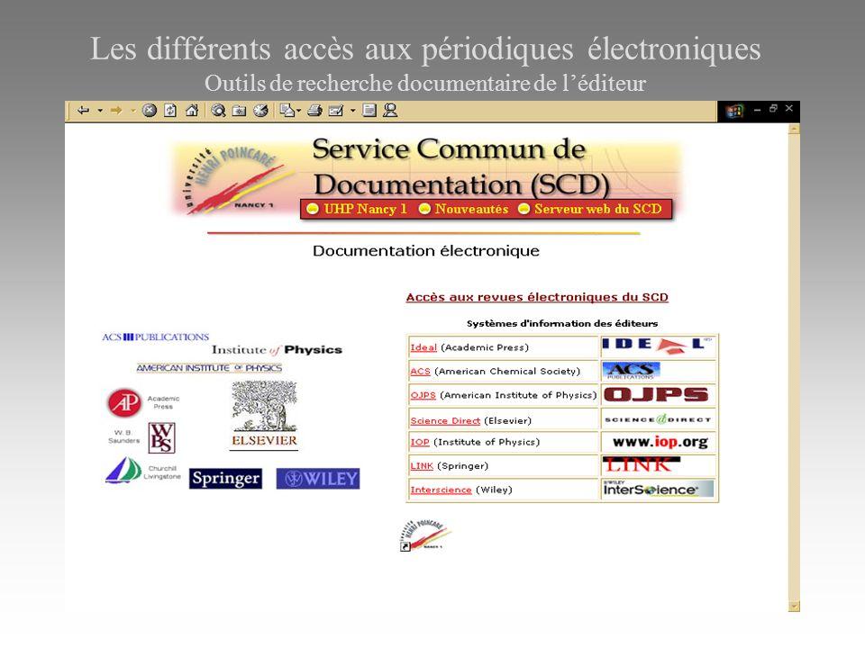 Les différents accès aux périodiques électroniques Outils de recherche documentaire de léditeur