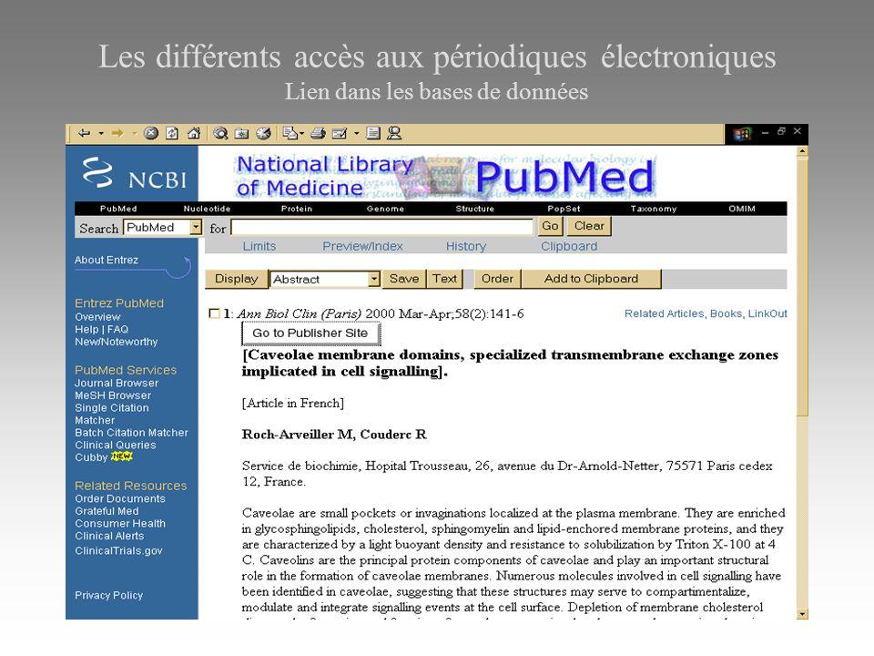 Les différents accès aux périodiques électroniques Lien dans les bases de données