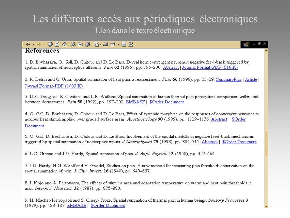 Les différents accès aux périodiques électroniques Lien dans le texte électronique