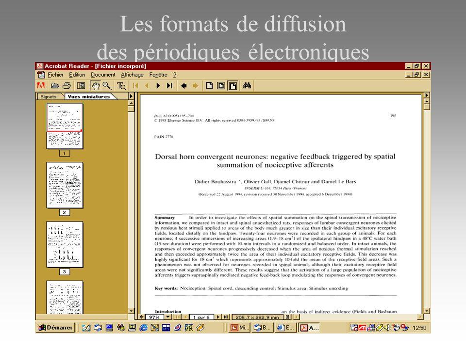 Les formats de diffusion des périodiques électroniques