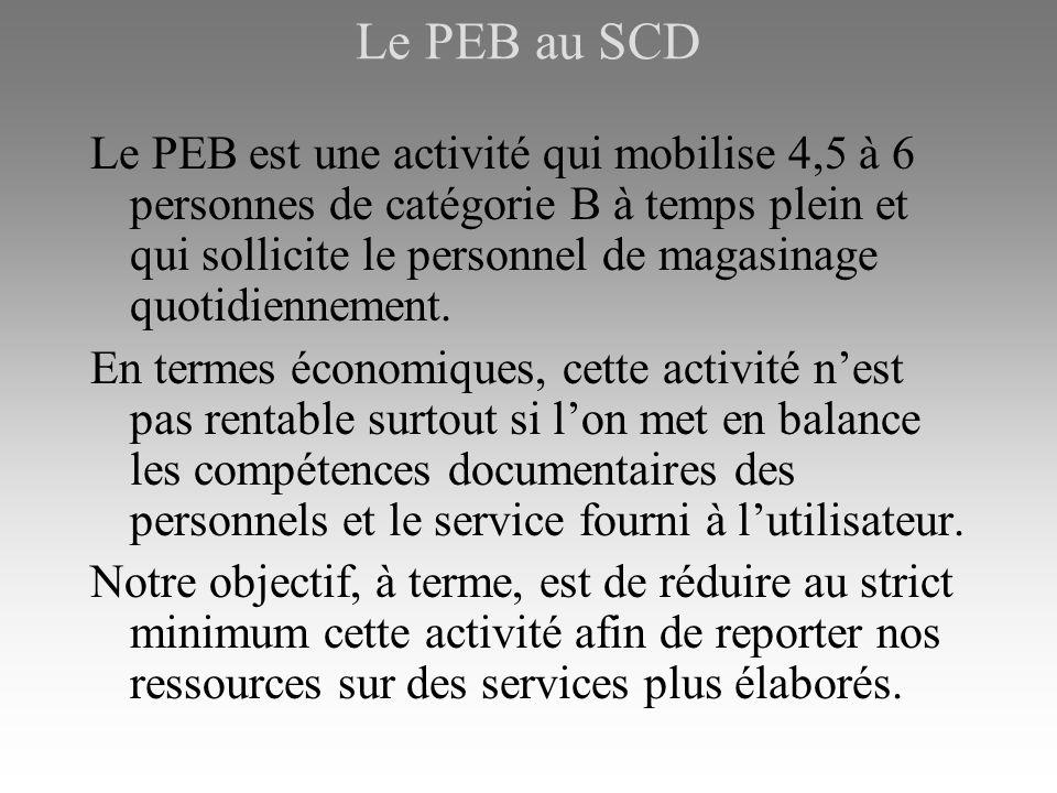 Le PEB au SCD Le PEB est une activité qui mobilise 4,5 à 6 personnes de catégorie B à temps plein et qui sollicite le personnel de magasinage quotidiennement.