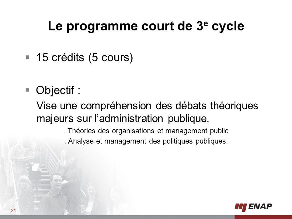 15 crédits (5 cours) Objectif : Vise une compréhension des débats théoriques majeurs sur ladministration publique..