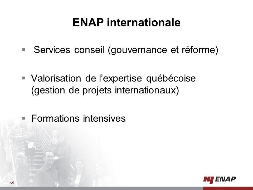 ENAP internationale Services conseil (gouvernance et réforme) Valorisation de lexpertise québécoise (gestion de projets internationaux) Formations intensives 34