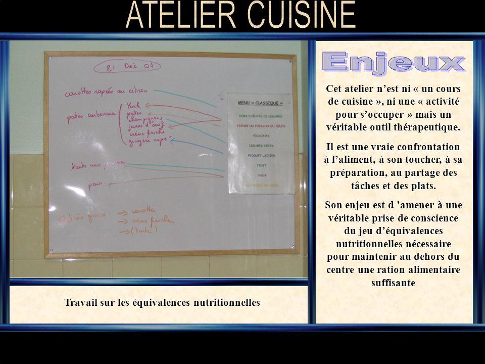 Cet atelier nest ni « un cours de cuisine », ni une « activité pour soccuper » mais un véritable outil thérapeutique.