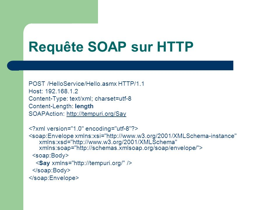 Requête SOAP sur HTTP POST /HelloService/Hello.asmx HTTP/1.1 Host: 192.168.1.2 Content-Type: text/xml; charset=utf-8 Content-Length: length SOAPAction